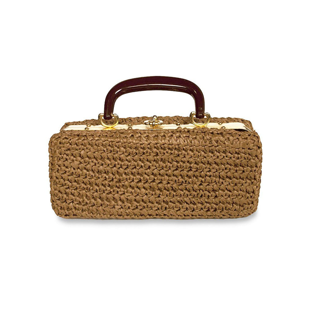Mid Century Brown Crochet Structured Box Handbag