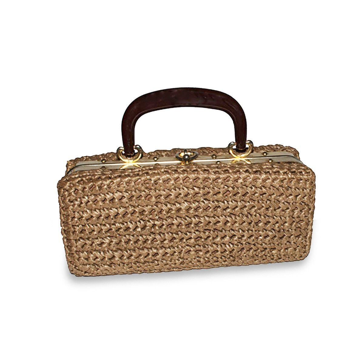 Mid-Century Brown Crochet Structured Box Handbag