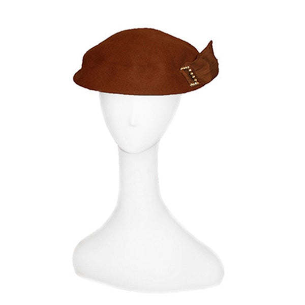 1950s Dish Hat, Brown Felt with Rhinestone Buckle