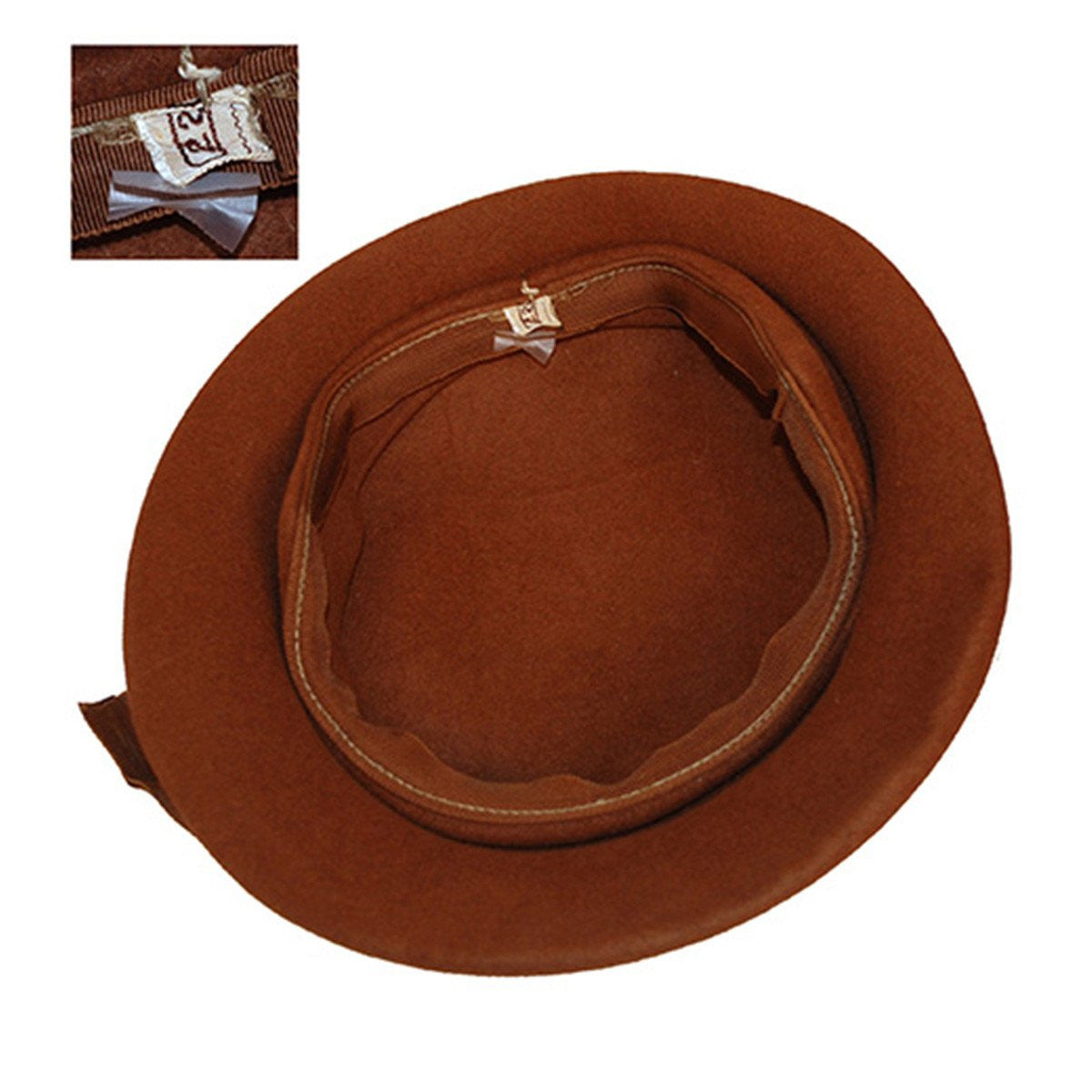 1950s Dish Hat, Brown Felt with Rhinestone Buckle 5, Hat Size 22