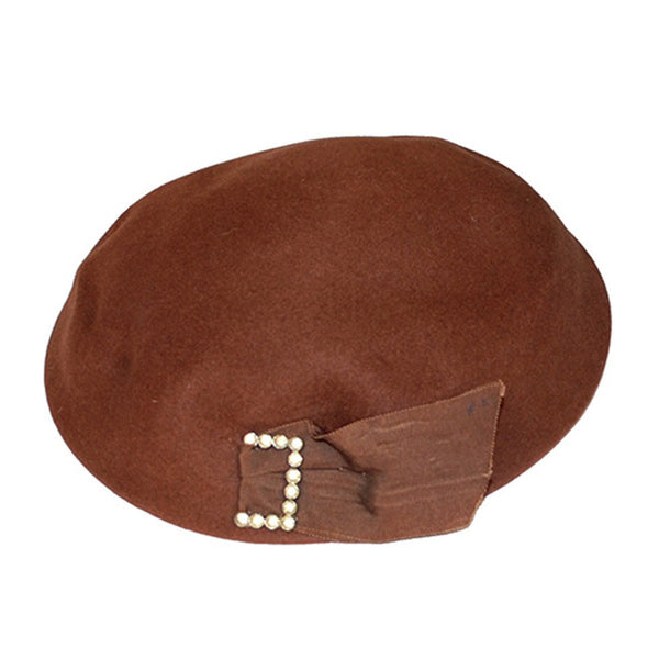 1950s Dish Hat, Brown Felt with Rhinestone Buckle, Hat Size 22