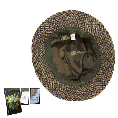 Vintage Brook Brothers Trilby 6, Brown & Gray Check, Hat Size 7