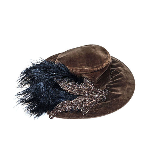Merry Widow Hat, Brown Velvet, Beading & Black Feathers