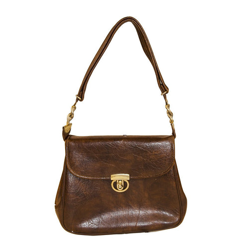 1960s Brown Faux Leather Saddlebag Handbag by JR Florida, Julius Resnick