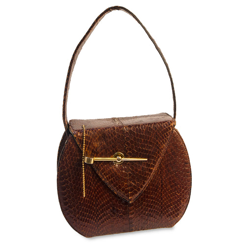 Brown Snakeskin Handbag, Gold Metal Hardware