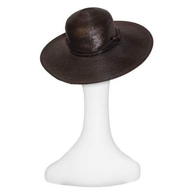 VIntage 70s Wide Brim Straw Hat 3, Chocolate Brown by Adele Claire, Hat Size 21