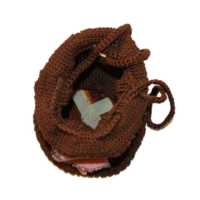 1960s Brown Knit Purse 6, Pink Glove Appliqué