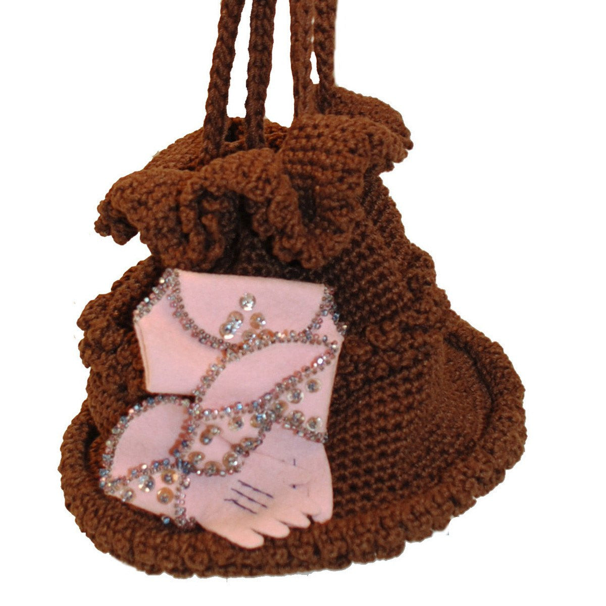 1960s Brown Knit Purse 2, Pink Glove Appliqué