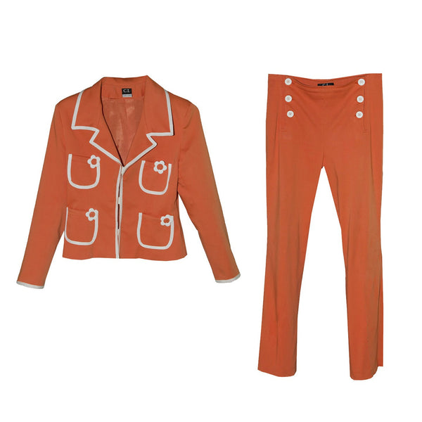 Cara Lotti Orange & White Pantsuit, Retro 60s Style, Sailor Style Pants