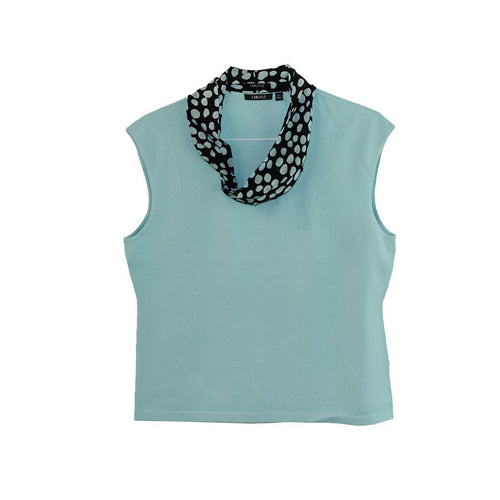 Carlisle Aqua Blue Knit Shell with Self Scarf