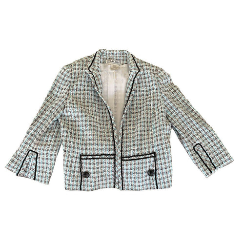 Carlisle Silk Boucle Designer Jacket, Size 14, Aqua Blue, Gray & White