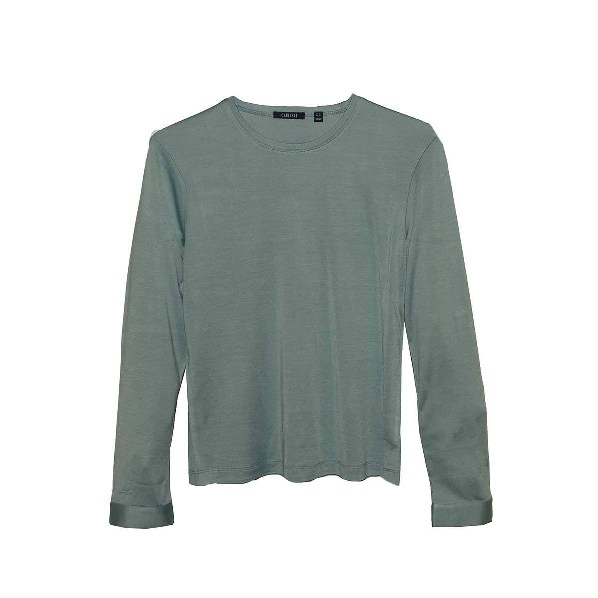 Green Silk Long Sleeve Top by Carlisle, XL - Extra Large, New Old Stock
