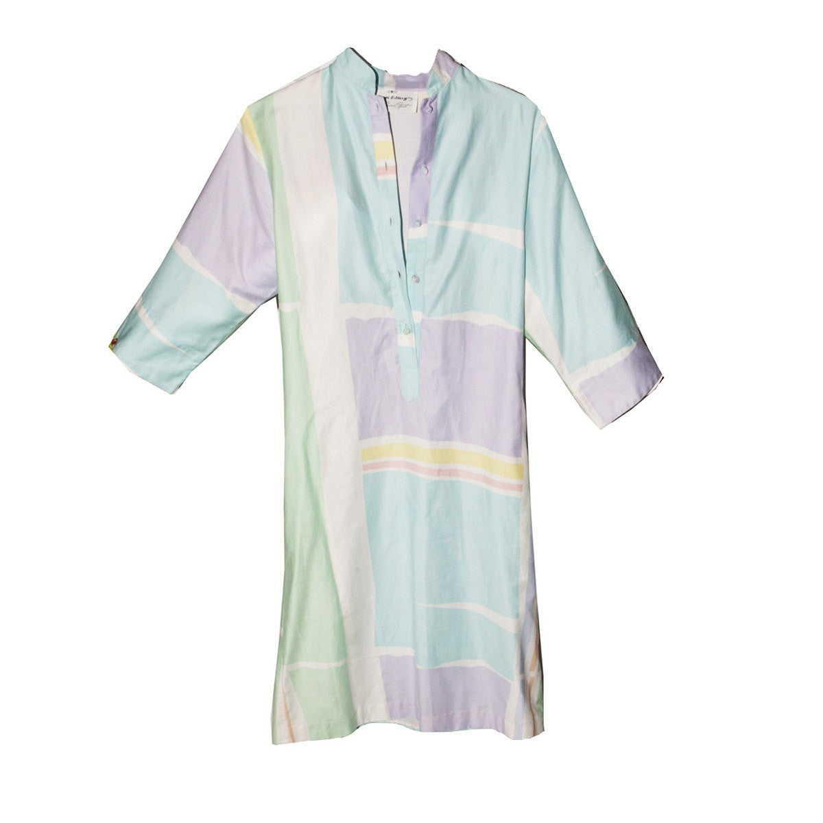 Catherine Ogust Pastel Abstract Print Dress, Vintage 1980s