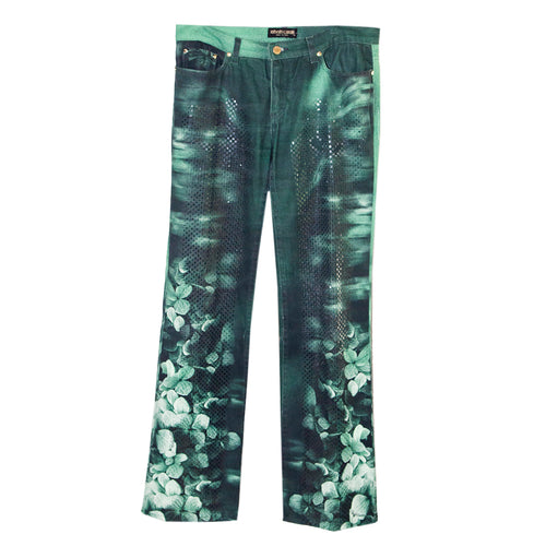 Roberto Cavalli Green five-pocket jeans with button fly. Green floral jeans