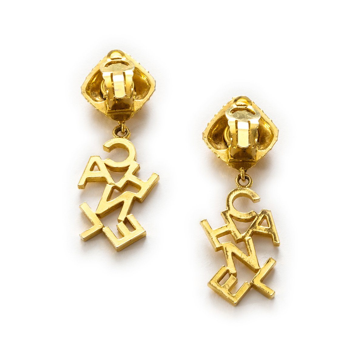 Chanel Logo Clip Earrings 4, Gold Plated