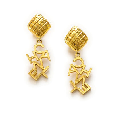 Chanel Logo Clip Earrings, Gold Plated