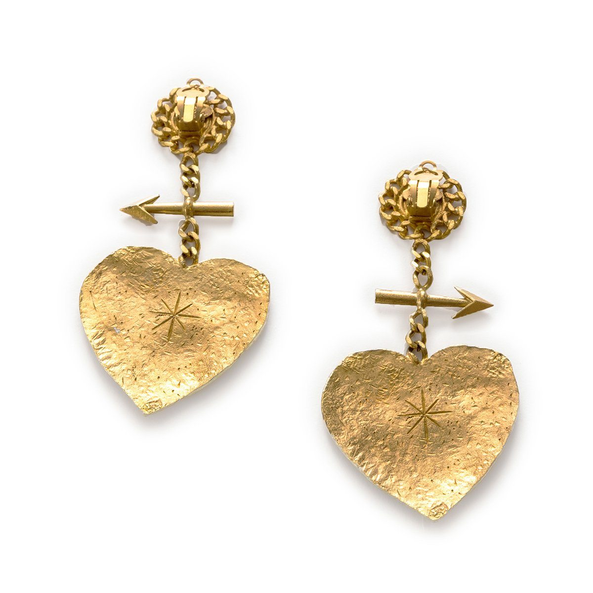Chanel Cambon Paris Graffiti Heart Earrings 2
