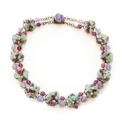 Chanel Rousselet Poured Glass Floral Necklace, Purple & Aqua Blue