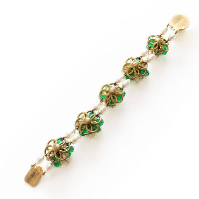 1950s Louis Rousselet Freshwater Pearls & Green Glass Bracelet 2
