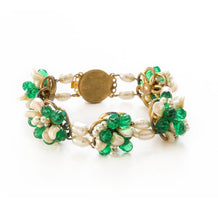 1950s Signed Louis Rousselet Freshwater Pearls & Green Glass Bracelet