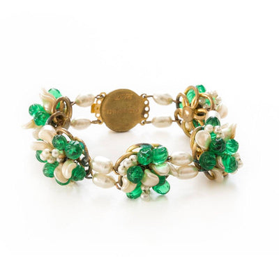 1950s Louis Rousselet Freshwater Pearls & Green Glass Bracelet