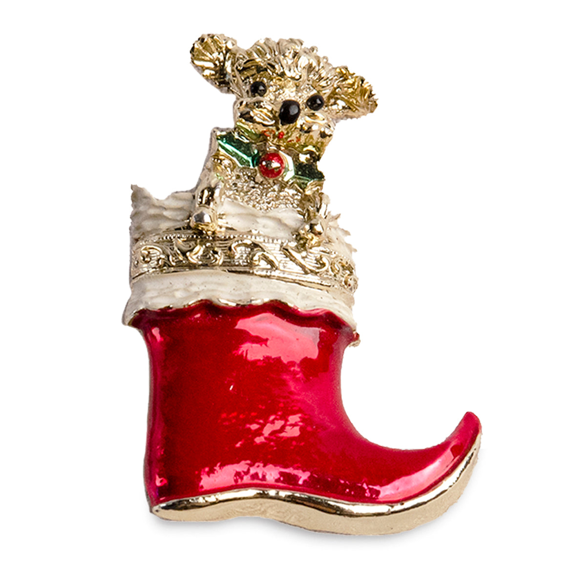 Puppy in Santa Boot Christmas Pin by Gerry's