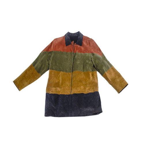 Vintage 70s Suede Jacket, Colorblock Stripe in Rust, Green, Gold & Navy Blue