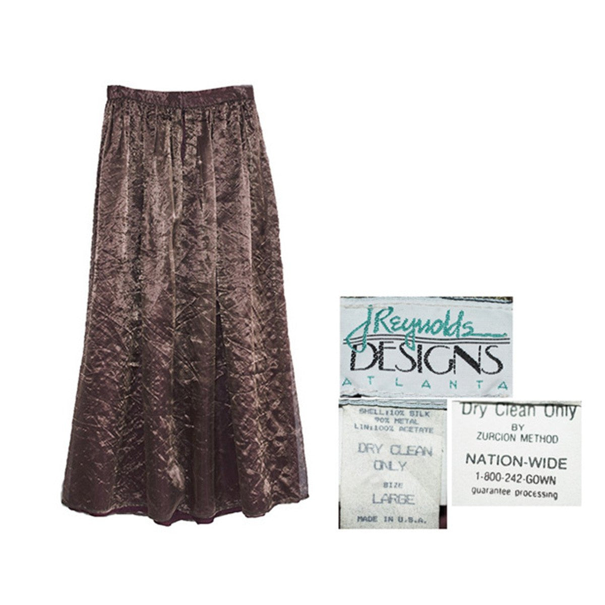 1980s Copper Floor-Length Skirt 5, Silk & Metallic