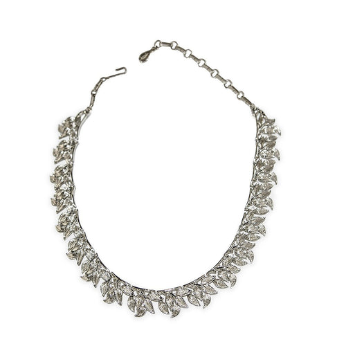 1950s Coro Choker Necklace, Brushed Silver Leaves