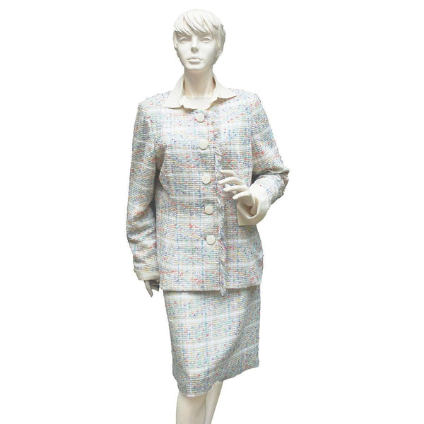 Vintage Ladies Multi-Color Silk Boucle Suit, Fringed Trim