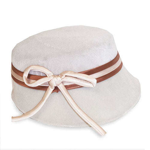 1950s Cream Velvet Hat 5, Orange Hatband, Hat Size 21