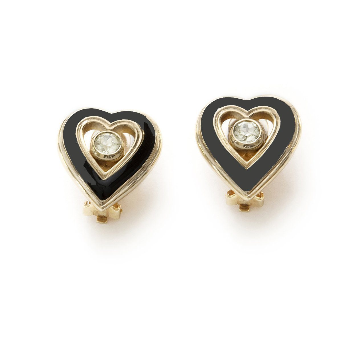 Vintage Christian Dior Heart Jewelry Set, Crystals, Black Enamel & Gold Plate 3
