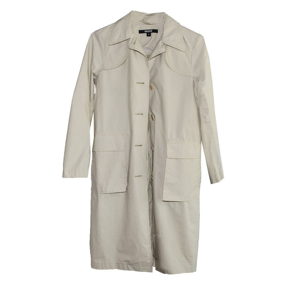 DYNY Tan Trench Coat, Donna Karan, Patch Pockets