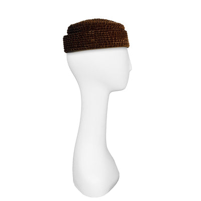 Vintage Pillbox Hat by D Charles, Brown Crimped Velvet