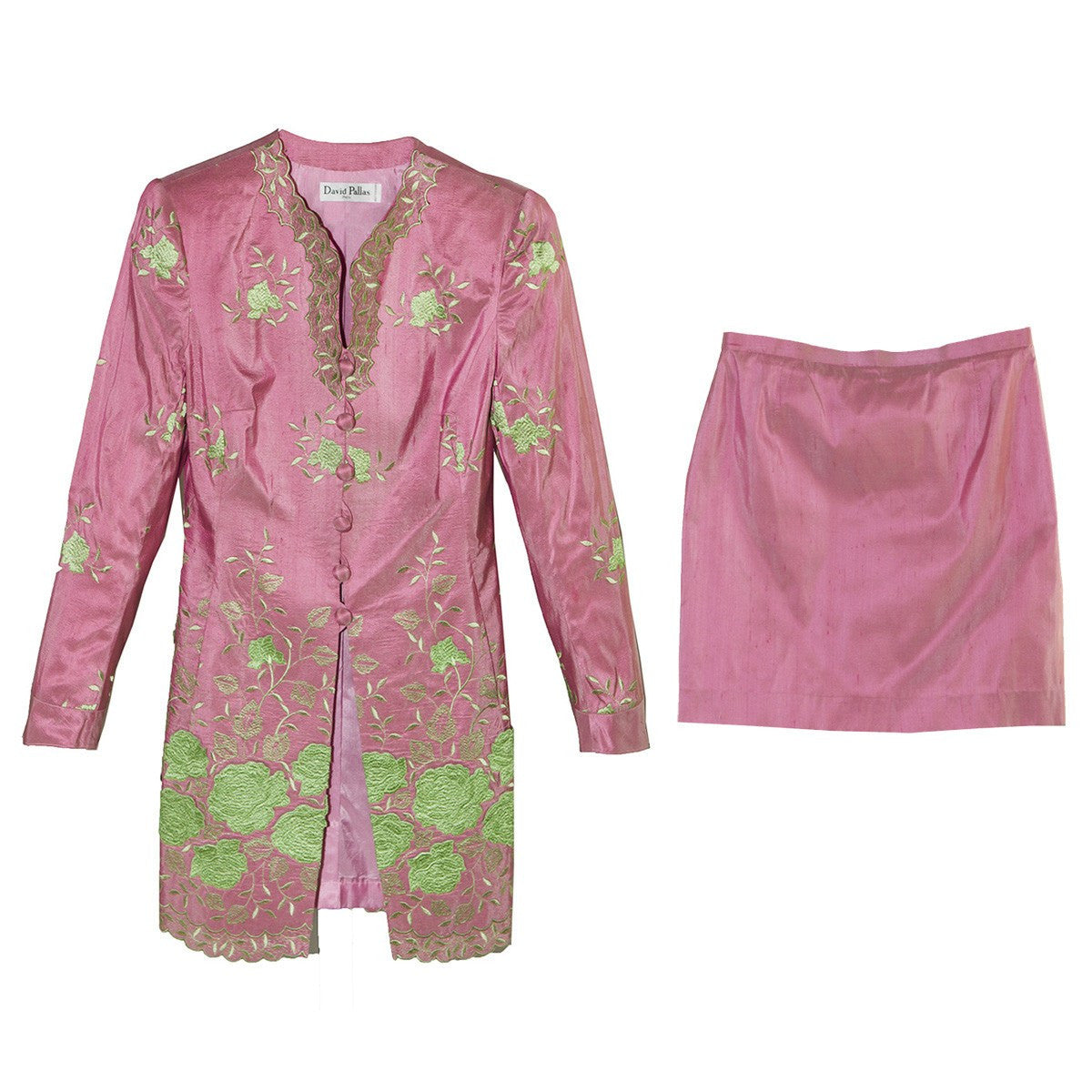 David Pallas Pink Silk Suit, Green Floral Embroidery