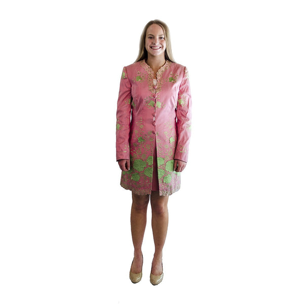 Vintage David Pallas Pink Suit, Green Floral Embroidery