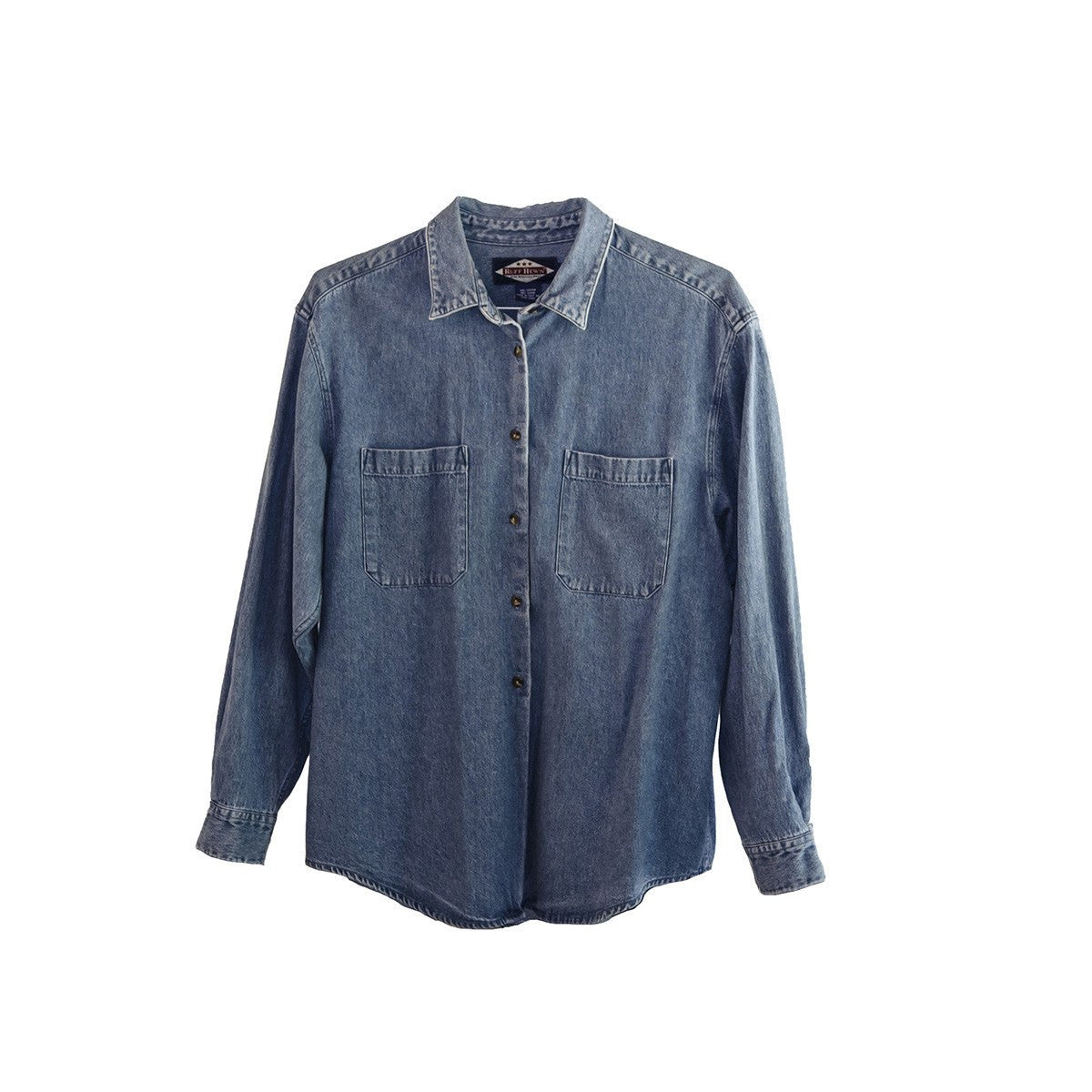 Vintage Denim Shirt, Size Large, Medium Wash