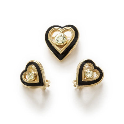 Vintage Christian Dior Heart Jewelry Set, Crystals, Black Enamel & Gold Plate 5