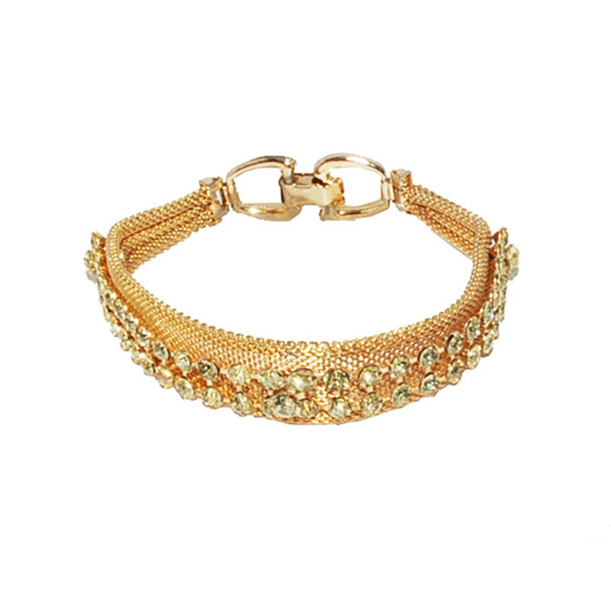 Yellow Rhinestone & Gold Mesh Bracelet, Dog Collar Style