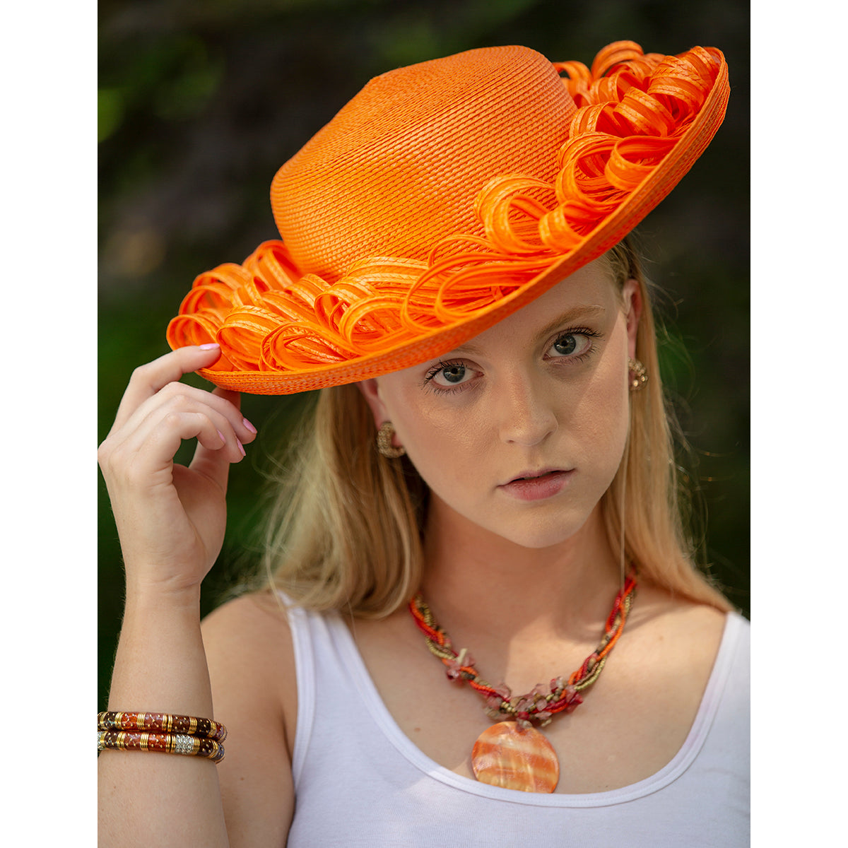 Orange Straw & Horsehair Hat by Don Anderson