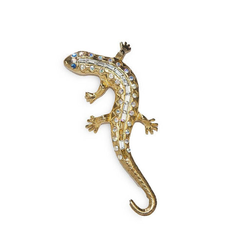 Eisenberg Ice Lizard Brooch, Rhinestones, Gold Setting