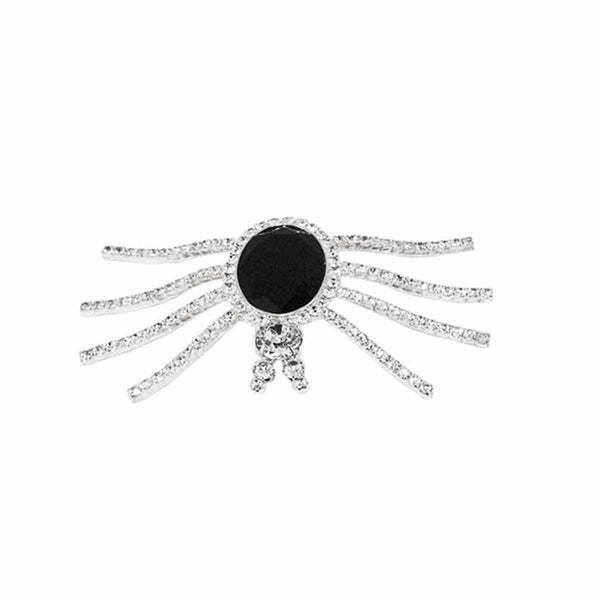 Vintage Eisenberg Ice Spider Brooch, Clear Rhinestones, Black Faceted Glass