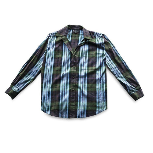 Vintage Blue & Green Plaid Silk Shirt, Company by Ellen Tracy, Size 16