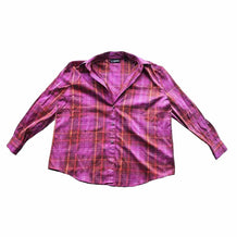 Vintage Pink Plaid Silk Shirt, Company by Ellen Tracy, Size 16, XL