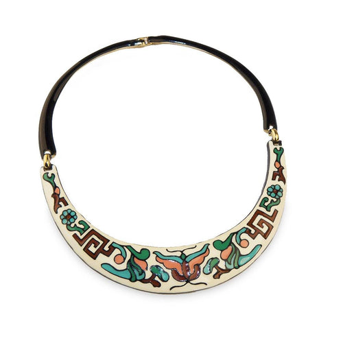 Vintage 60s Enamel Choker, Collar Necklace, Possibly Eisenberg