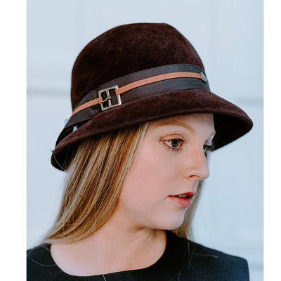 1960s Ladies Brown Fedora by Eva Mae, Belt Buckle Hatband