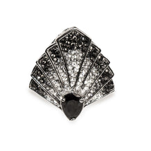 Art Deco Ring, Fan-Shaped, Rhinestone Pave, Adjustable