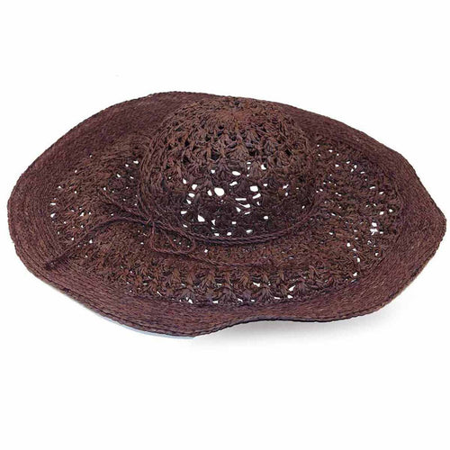 Florabella Brown Raffia Straw Sun Hat, New Old Stock