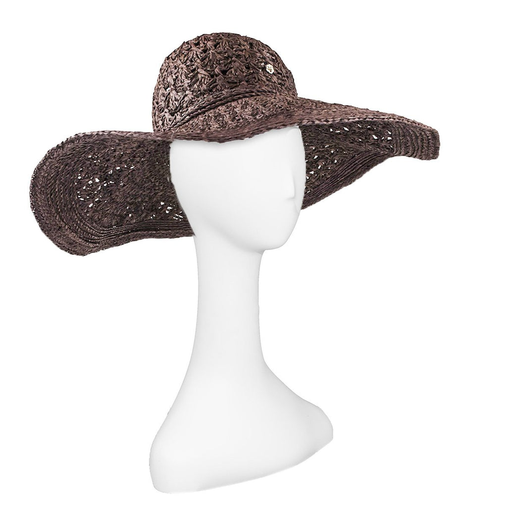 Florabella Raffia Straw Sun Hat, Gray & Tan, New Old Stock