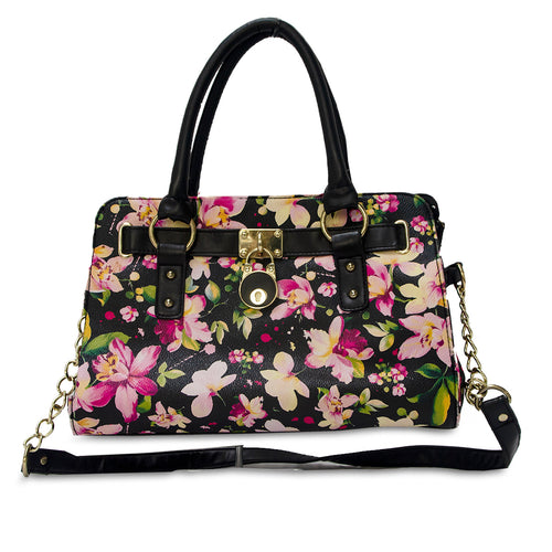 Large floral handbag, black shoulder bag, Gold chain